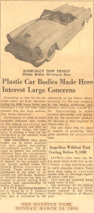 Houston Post Article March 20 1954